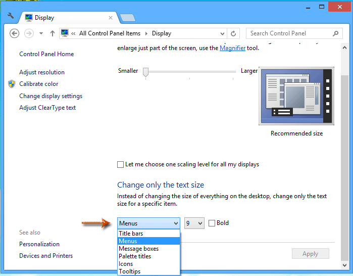 how to change letter size in outlook