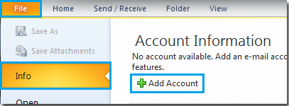 how to add email account from outlook