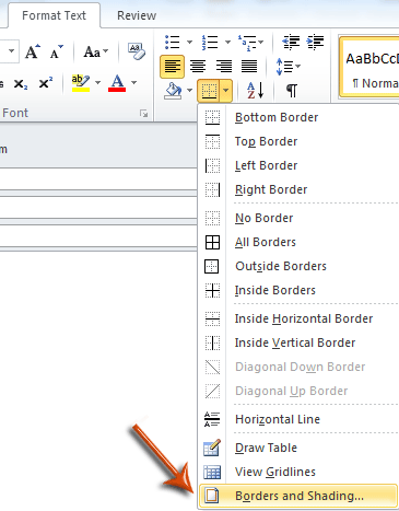 how to add in diving line in word