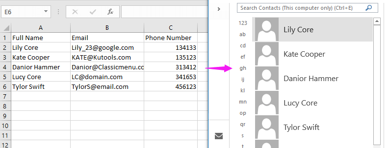 doc import contacts from excel 13