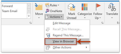 In The Message Window Please Click Actions View Browser