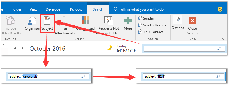 how to add subject tab to sent items in outlook