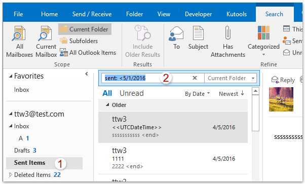 Outlook search by date in Perth