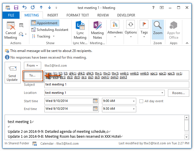 How to send meeting update to one new attendee only in Outlook
