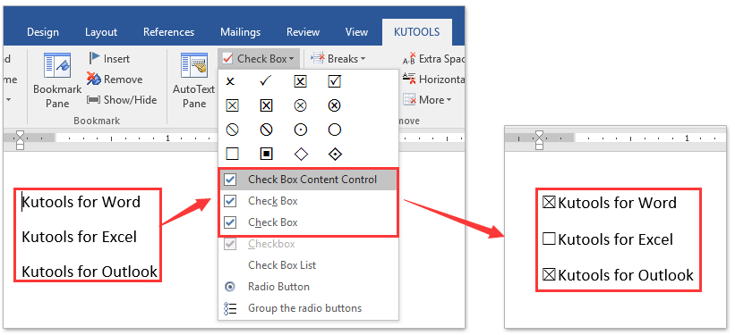ad insert checkboxes controls