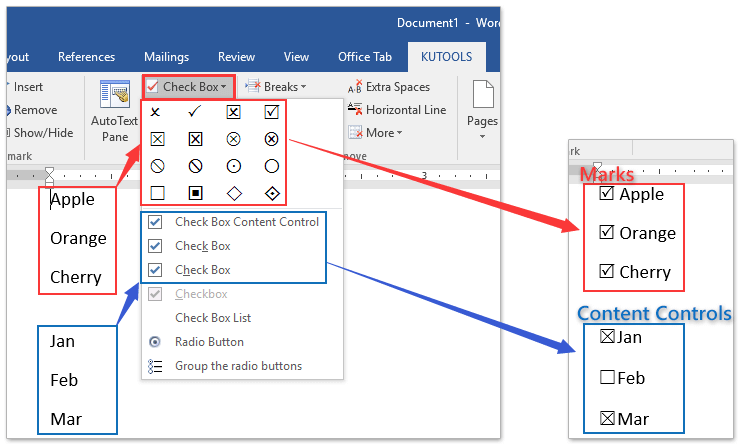 How to quickly insert checkbox symbol into word document ad insert checkboxes marks controls ccuart Choice Image