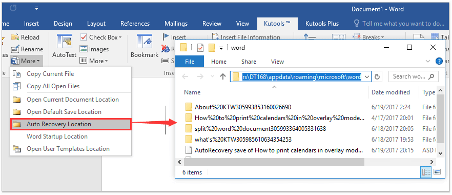 how to open auto recover file location to recover the lost word document