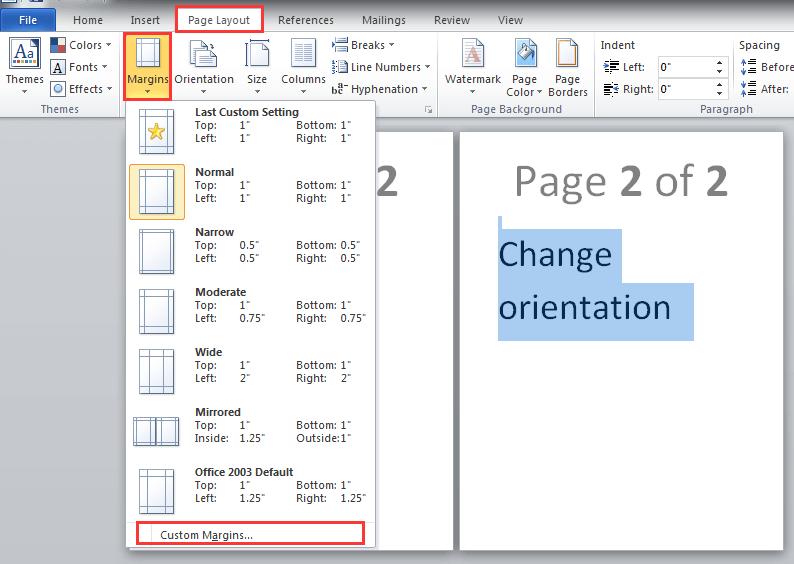 doc change orientation 5