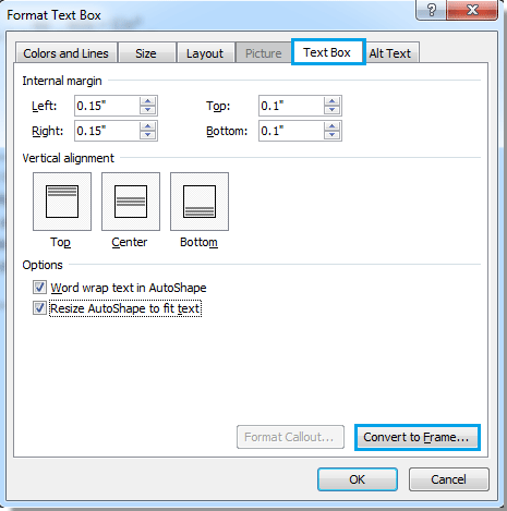 How to convert text box to frame in word?