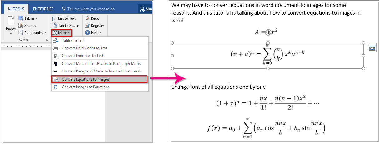How To Covert Equation To Image In Word