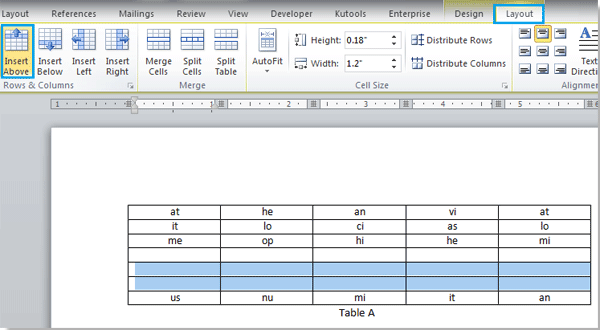 How To Insert Multiple Rows Into A Table In Word
