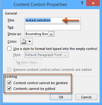 how to lock text in word