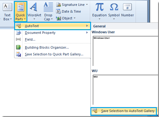 Quick Parts and AutoText in Outlook how to add edit and use