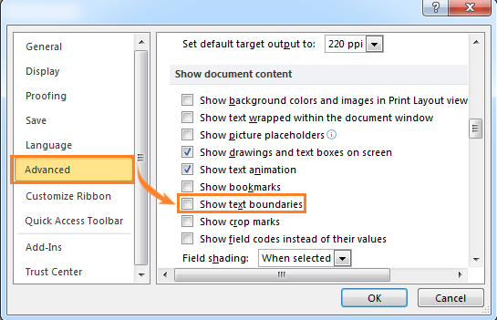 Show Or Hide Text Boundaries In Word By Using Kutools