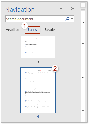how to change page sequence in word document