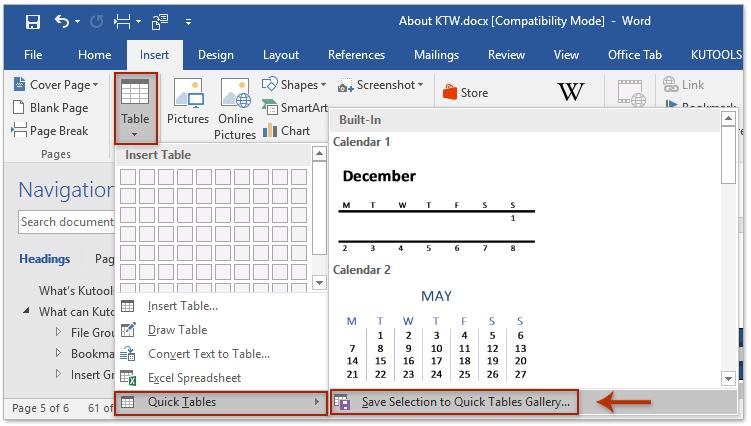 create a calendar in word