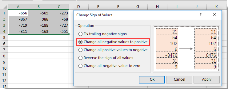 how to change all my numbers to positive excel