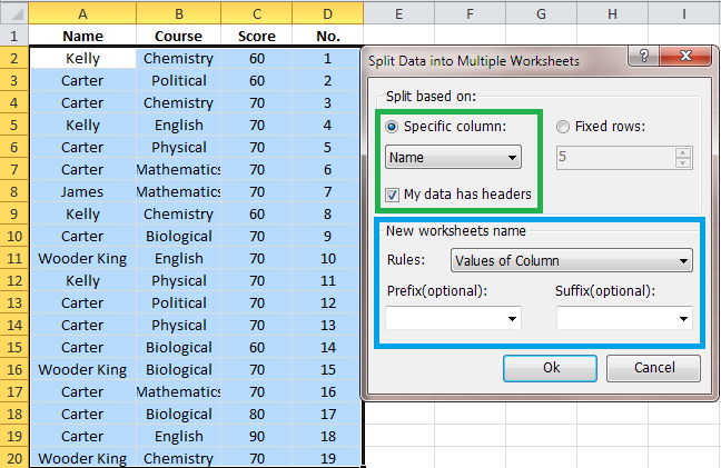 Quickly split data into multiple worksheets based on selected ...